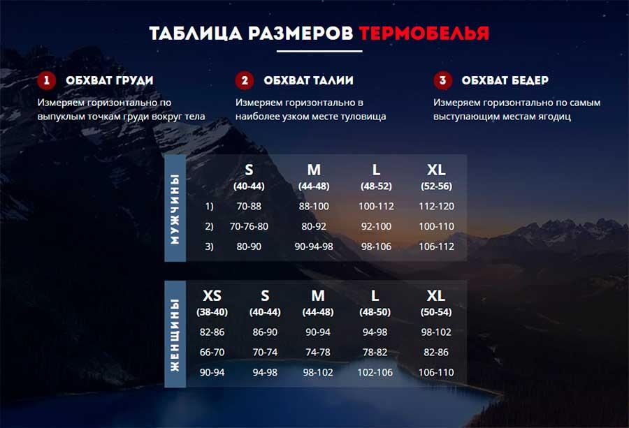 Таблица размеров термобелья с подогревом